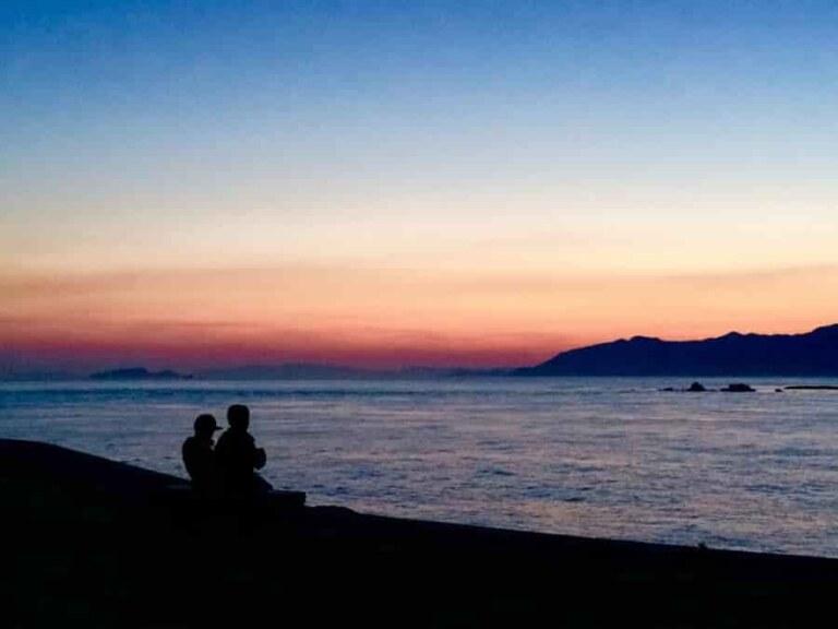 キャンプの夕日